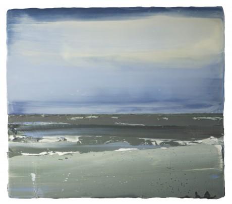 Storm aan Zee 32 x 36 cm encaustiek en olieverf op hout