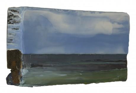Wind boven Vlakte  19 x 36 cm  encaustiek en olieverf op zeehout