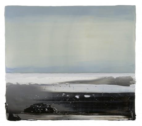 Winterlicht 32 x 37 cm encaustiek en olieverf op hout