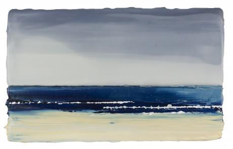 Zee bij bewolkt Weer  17 x 27,5 cm  encaustiek en olieverf op zeehout