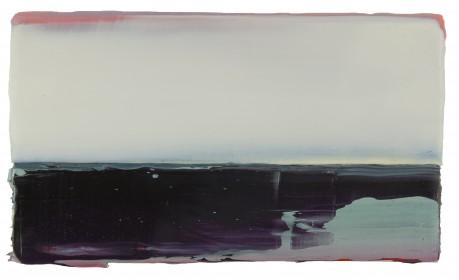 Zonsondergang  14 x 24 cm  encaustiek en olieverf op zeehout - courtesy Galerie de Vis Harlingen