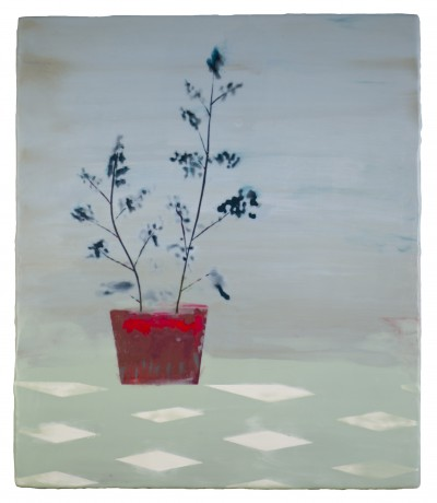 Moribana Grassen 43 x 37 cm encaustiek op hout