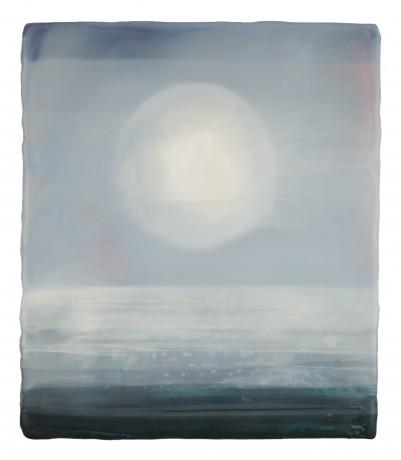 Volle Maan bij Nevel 21 x 18 cm encaustiek op hout