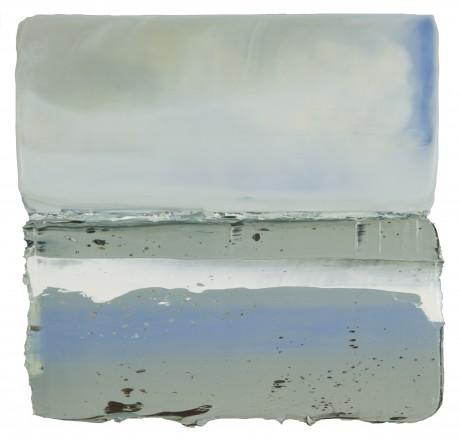 Wolken & Water 20 x 21 cm encaustiek en olieverf op hout