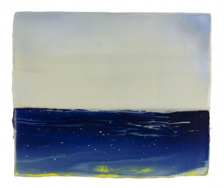 Blauwe Zee 18 x 21 cm encaustiek en olieverf op hout