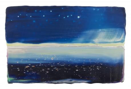 Indigo Landscape 18 x 28 cm encaustiek en olieverf op zeehout - Park Collectie Rotterdam