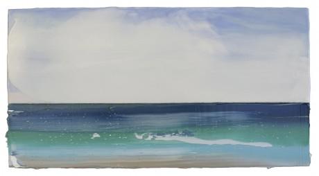 Watervlakte 26 x 48 cm encaustiek en olieverf op hout