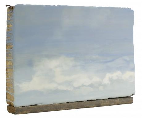 Wolken 29 x 39 x 8 cm encaustiek op zeehout