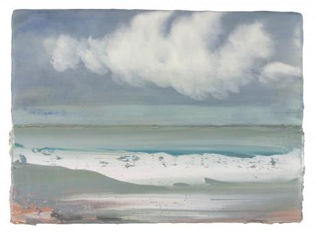 Wolken aan Zee 26 x 35 cm encaustiek en olieverf op hout