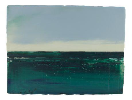 Groene Zee 30 x 40 cm encaustiek en olieverf op houtpaneel