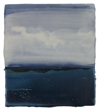 Zeewolken 21 x 18 cm encaustiek en olieverf op hout
