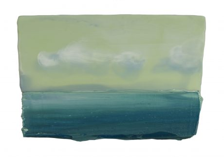 Green Sea 22 x 14 cm encaustic en olieverf op hout