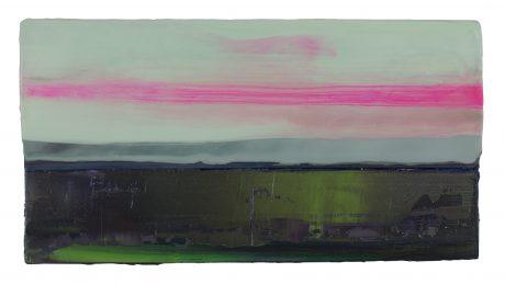 Moss Evening 25 x 48 cm encaustiek en olieverf op hout