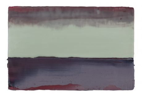 Regenwolken 16 x 24 cm encaustiek en olieverf op hout