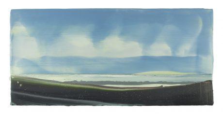 Wind & Wolken 26 x 56 cm encaustiek en olieverf op hout