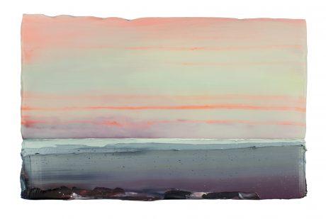 Zon boven Zee 24 x 36 cm encaustiek en olieverf op eikenhout