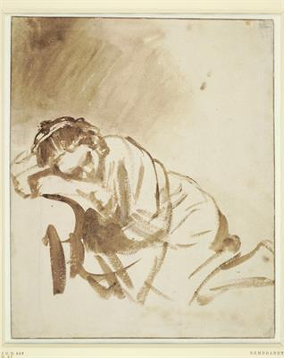 Rembrandt van Rijn (1606-1669), Slapende jonge vrouw (Hendrickje Stoffels?)