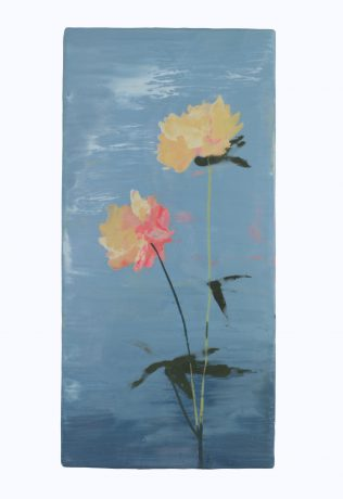 Japanese Flowers 36,5 x 18 cm encaustic op eikenhout - courtesy Galerie Huub Hannen Maastricht