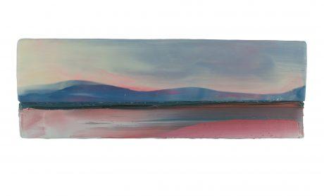 Landscape near Sea 2018 encaustiek en olieverf op hout 14 x 41 cm