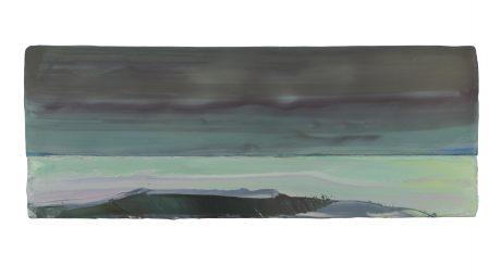 Landschap bij Zee 2018 encaustiek en olieverf op hout 15 x 41 cm