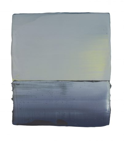 Licht 21,5 x 18 cm encaustiek en olieverf op hout