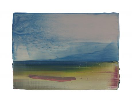 Mountainous Landscape 16 x 22 cm encaustic and oilpaint on wood