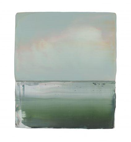 Nazomer aan Zee 2018 encaustiek en olieverf op hout 21 x 18 cm