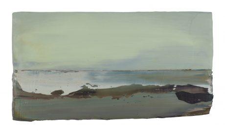 Ocean View 19 x 35 cm encaustic and oilpaint on oakwood
