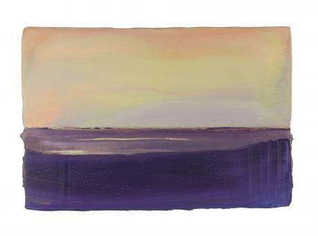 Sundown 19,5 x 29 cm encaustic en olieverf op eikenhout