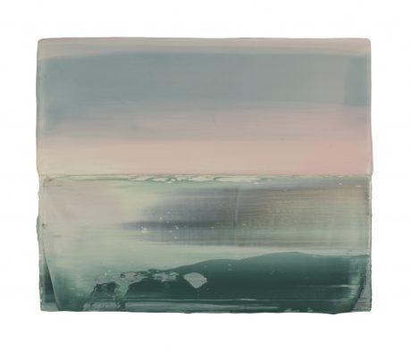 Sunrise Sea, encaustic and oilpaint on wood 15 x 18,5 cm