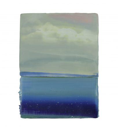 Water & Clouds 2018 encaustic en olieverf op hout 23,5 x 18 cm