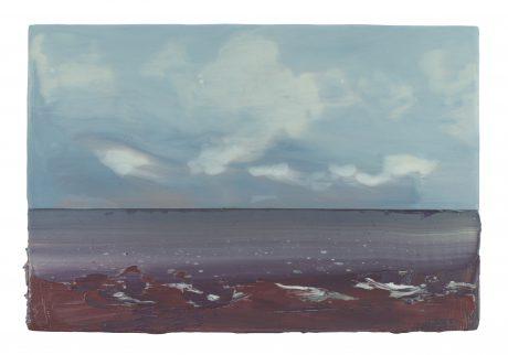 Wind aan Zee 2018 encaustiek en olieverf op hout 20 x 30 cm