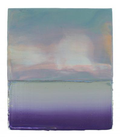 Wolken aan Zee 2018 encaustiek en olieverf op hout 21 x 18 cm