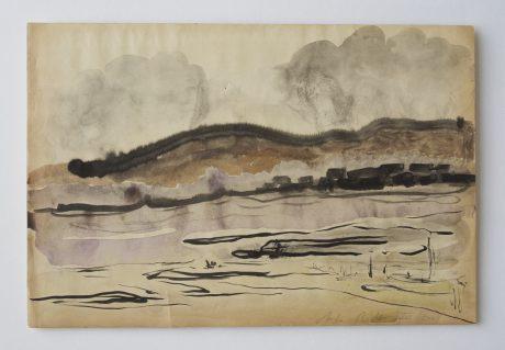 Spaans landschap 2008 inkt en aquarel op antiek papier 19 x 28 cm
