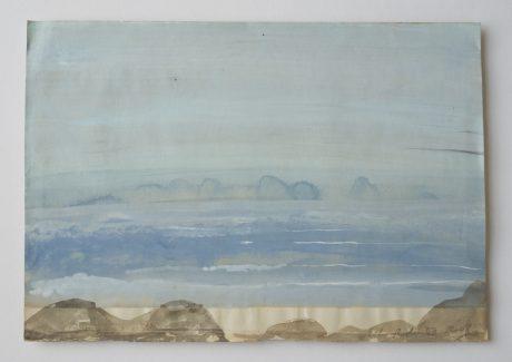 Zee 2008 aquarel op antiek papier 19,5 x 28 cm