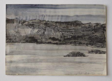 Rotskust II inkt en aquarel op antiek papier 20 x 28,5 cm
