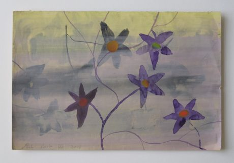 Klimplant 2008 aquarel en collage op antiek papier 19 x 28,5 cm