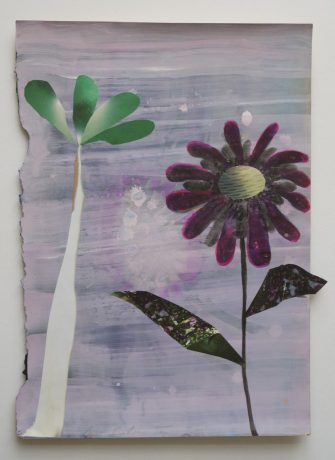 De Tuin 2008 aquarel, gouache en collage op antiek papier 28,5 x 20 cm