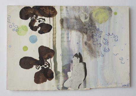 Orchid Buddha 2006 bister gouache, inkt collage op antiek papier 19,5 x 28,5 cm