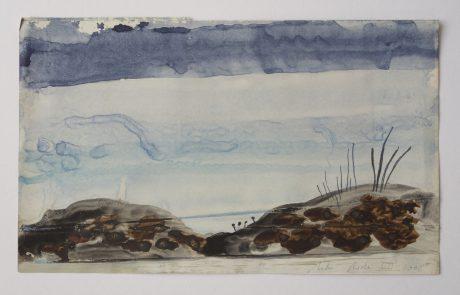 Zeelandschap 2008 inkt, bister en aquarel op antiek papier 16,5 x 28,5 cm