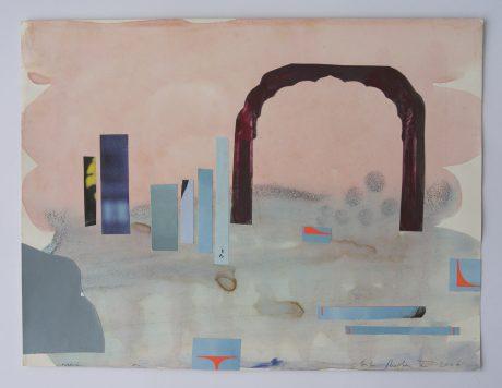 Shinto 2006 inkt, aquarel en collage op papier 24 x 31 cm