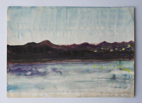 Regen aan Zee 2008 inkt en aquarel op antiek papier 20 x 28 cm - private collection