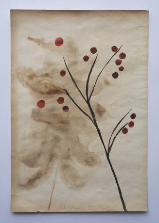 Bloei 2008 inkt en aquarel op antiek papier 28 x 19 cm - private collection