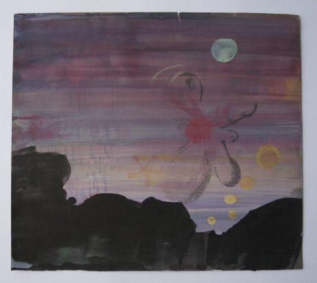 Nacht aan Zee 2008 inkt aquarel en gouache op antiek papier 26 x 29,5 cm