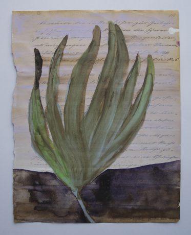 Herinnering aan een Tuin 2008 gouache en aquarel op antiek papier