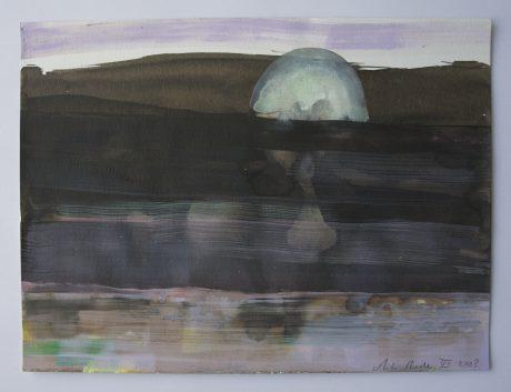 Maanlandschap 2008 inkt en gouache op aquarelpapier 24 x 32,5 cm