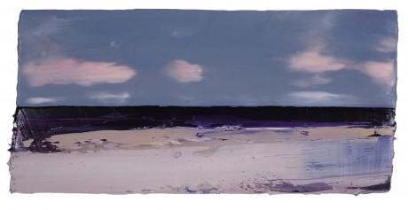 Strand  24 x 50 cm  encaustiek en olieverf op zeehout