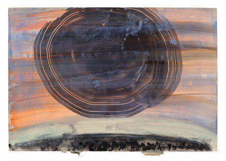 Saturnus 2008 gemengde techniek op papier 20 x 28 cm - collectie Triodos Bank