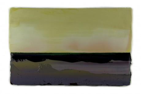 Schemer  31 x 49 cm  encaustiek en olieverf op zeehout