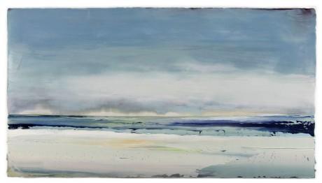 Wolken aan zee  62 x 112 cm  encaustiek en olieverf op houtpaneel